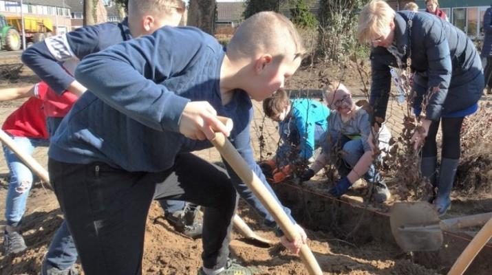 Boomfeestdag in park De Braamberg, Burgemeester Besselink van Bronckhorst, kinderen basisschool De Klimtoren, beukenhaag planten