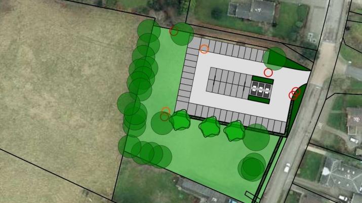 ontwerp aanleg parkeerplaats met milieuparkje Achter-Drempt op terrein voormalige basisschool St. Willibrordus