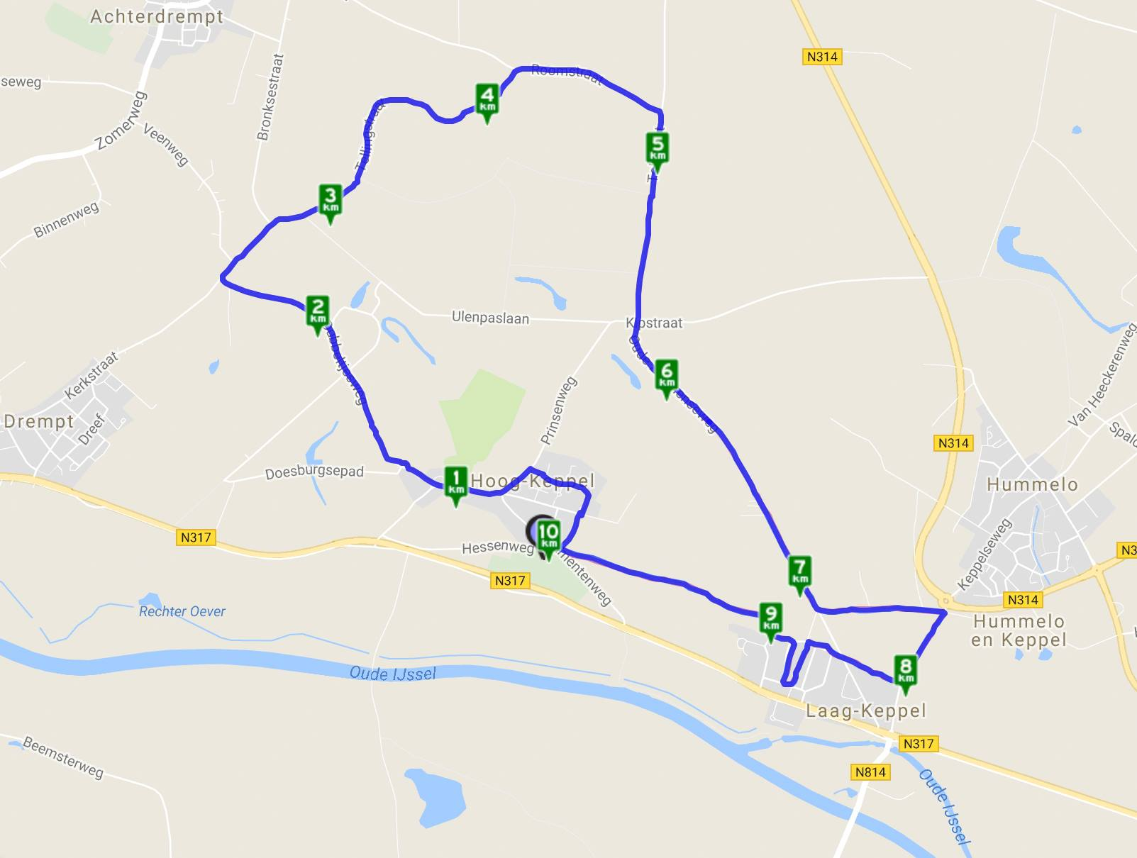 10km route Keppelrun 2018