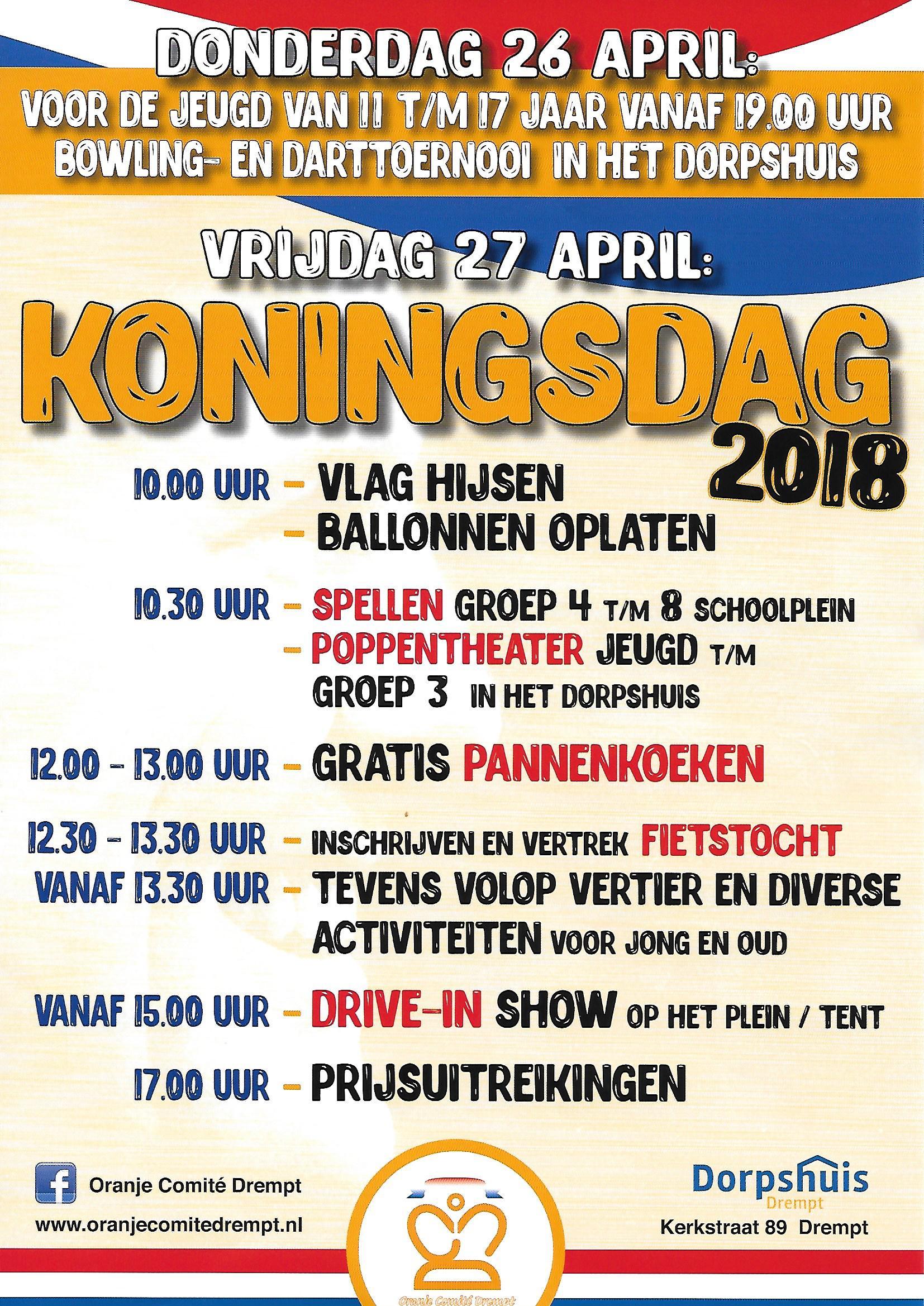 Programma Koningsdag 2018 in Drempt