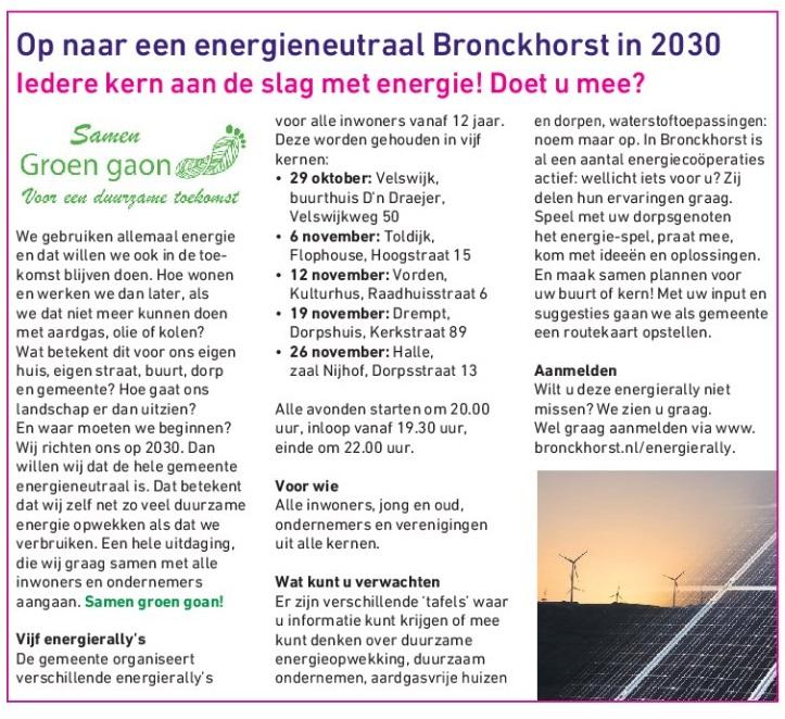 Uitnodiging 'Energierally' van de Gemeente Bronckhorst