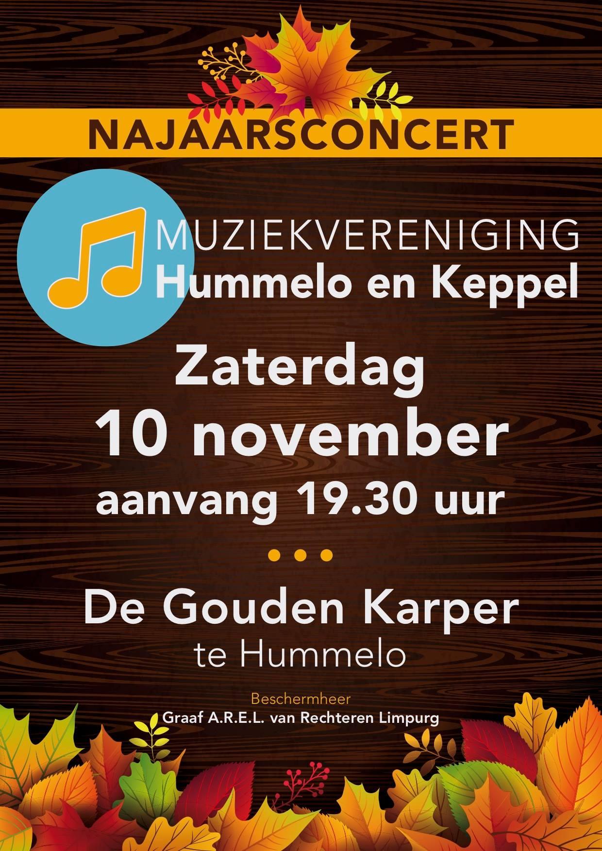 flyer Najaarsconcert 2018 Muziekvereniging Hummelo en Keppel