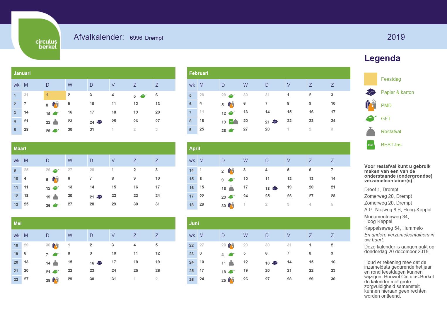 Afvalkalender 6996 Drempt, januari tot en met juni 2019