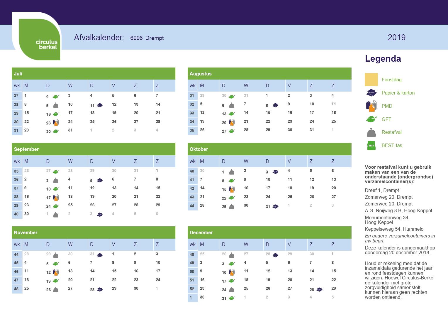 Afvalkalender 6996 Drempt, juli tot en met december 2019
