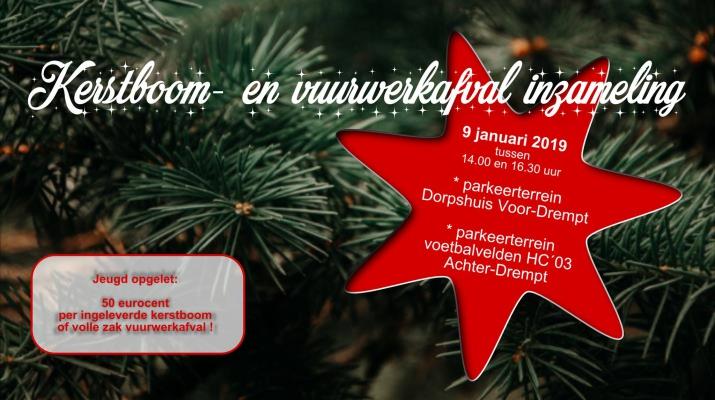 Kerstboom- en vuurwerkafvalinzameling Drempt 2019