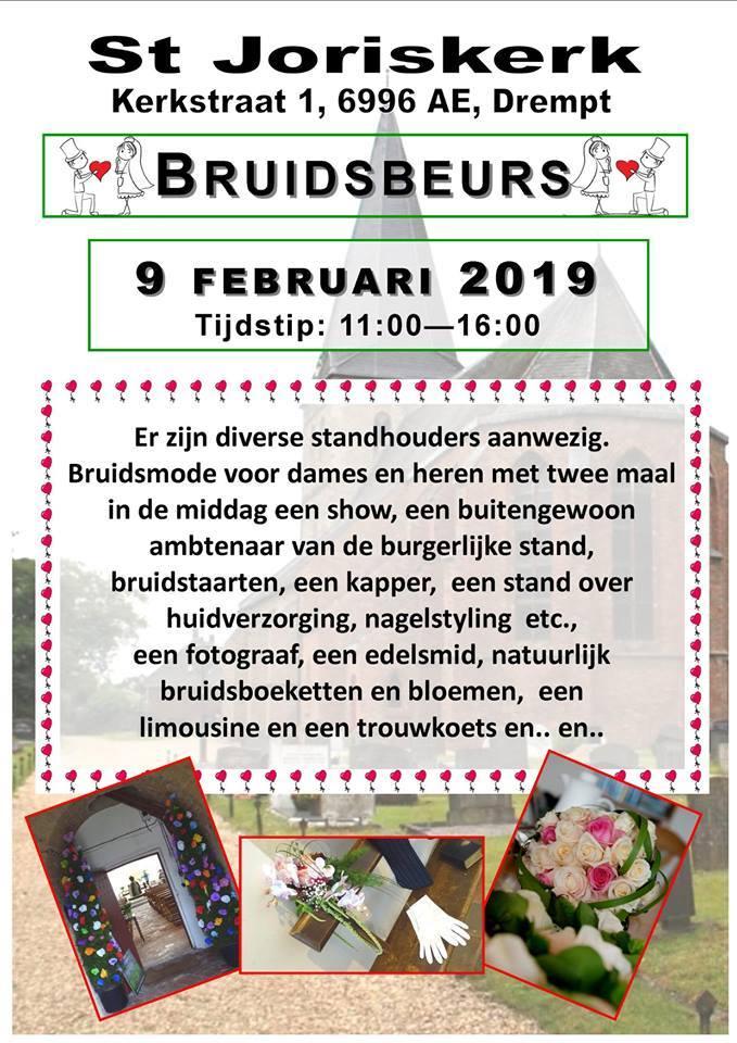 raambiljet met aankondiging bruidsbeurs in de St. Joriskerk in Drempt op 9 februari 2019