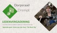 uitnodiging ledenvergadering 2019 Dorpsraad Drempt met speciale gast Irene van der Aart