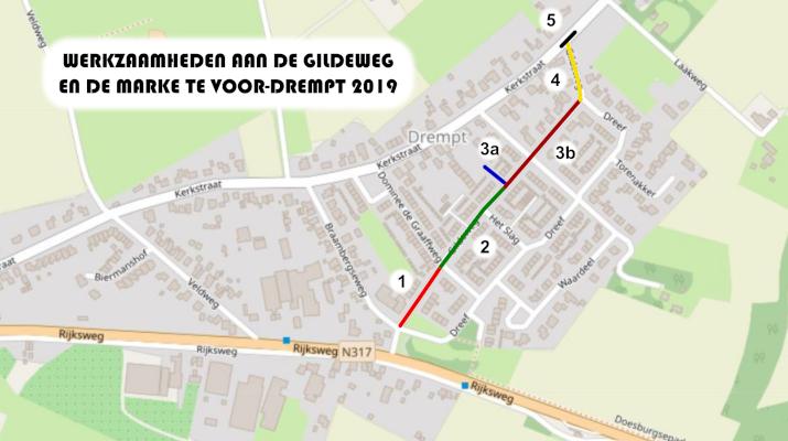 plattegrond met overzicht werkzaamheden aan de Gildeweg en De Marke in Voor-Drempt in 2019