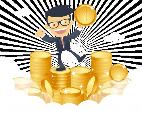 blij zakenman met geld