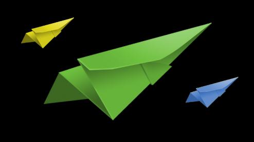 drie papieren vliegtuigjes in de kleuren geel, groen en blauw