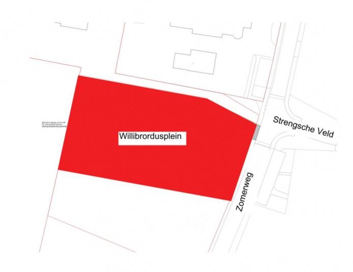 situatieschets waarin de nieuwe straatnaam Willibrordusplein Drempt wordt aangegeven