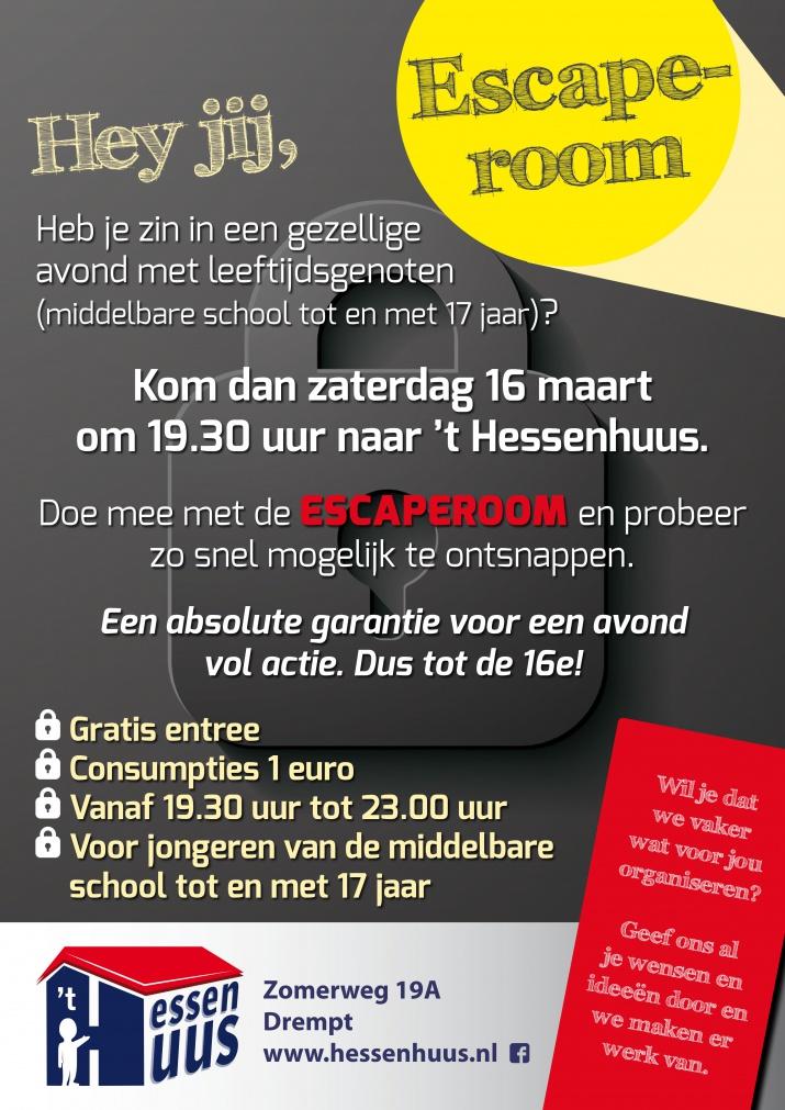 uitnodiging middelbare schooljeugd voor de Escaperoom in 't Hessenhuus Drempt