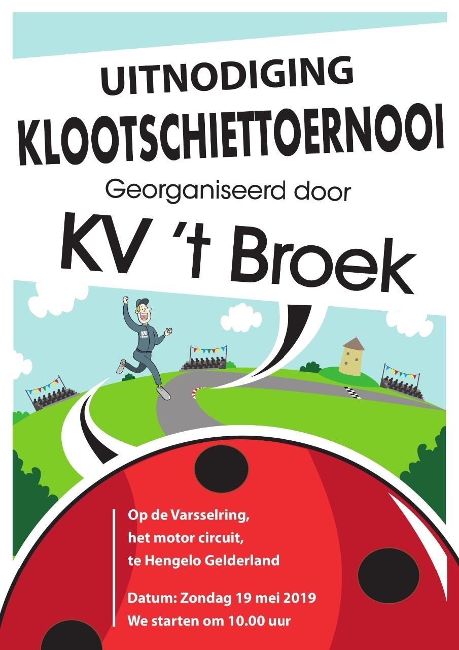 uitnodiging klootschiettoernooi op de Varsselring op 19 mei 2019 georganiseerd door KV 't Broek