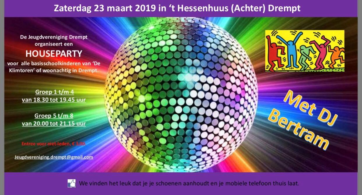 discobal op aankondiging houseparty Jeugdvereniging Drempt
