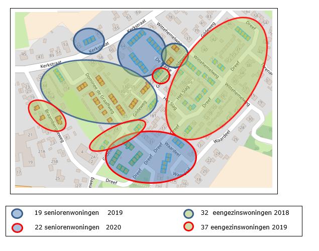 overzichtskaart renovatie gezinswoningen en sloop seniorenwoningen Sité in Voor-Drempt