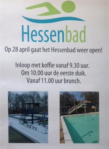 raambiljet met aankondiging opening Hessenbad