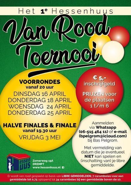 Aankondiging 1e Van Rood Toernooi in 't Hessenhuus Drempt