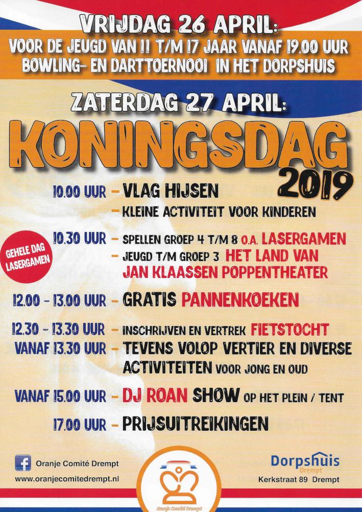 flyer met festiviteiten in Drempt voor Koningsdag 2019
