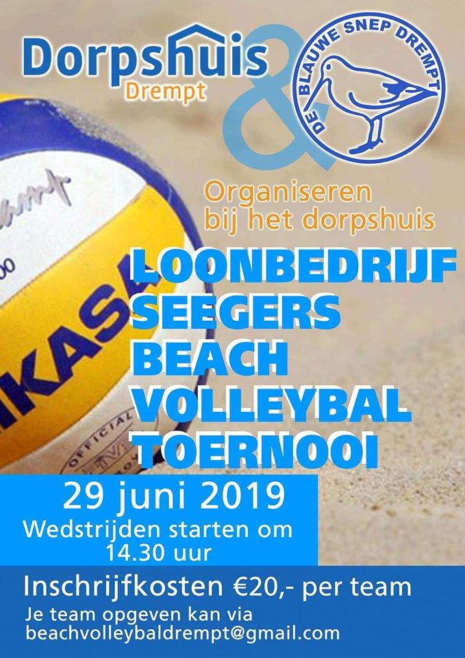 aankondiging beachvolleybaltoernooi op 29 juni 2019 in Drempt