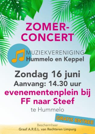 flyer met aankondiging Zomerconcert Muziekvereniging Hummelo en Keppel