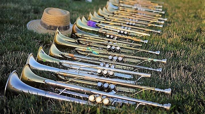 blaasinstrumenten op een rij in het gras