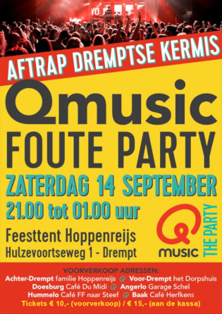 aankondiging Qmusic Foute Party Drempt