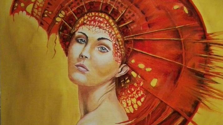schilderij van vrouw met rode hoofdtooi