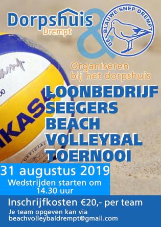 volleybal in het zand met tekst