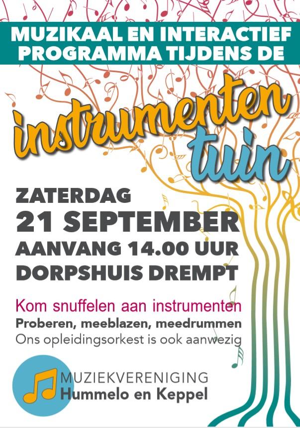 flyer instrumententuin Muziekvereniging Hummelo en Keppel