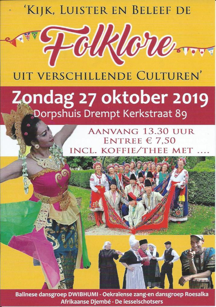 flyer Folkloremiddag 27 oktober 2019 Dorpshuis Drempt