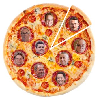 pizza met gezichten toneelspelers Zanglust Drempt