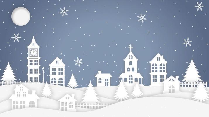 tekening met huisjes in de sneeuw