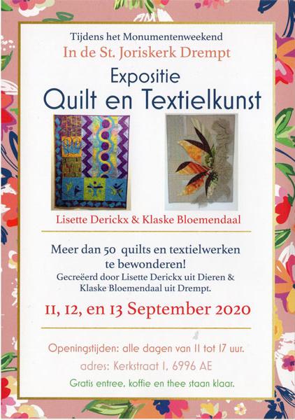 flyer met aankondiging expositie quilt en textielkunst