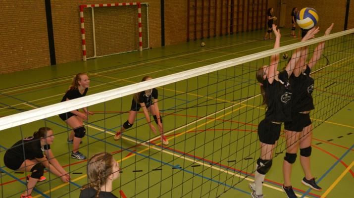 meisjes die volleyballen