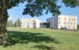 gebouwen met grasveld, boom en blauwe lucht