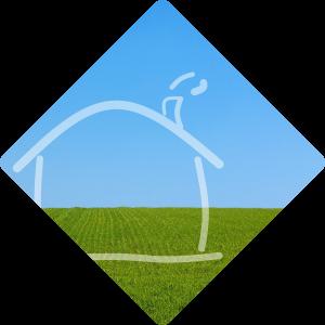 lijntekening huisje in groen veld met blauwe lucht