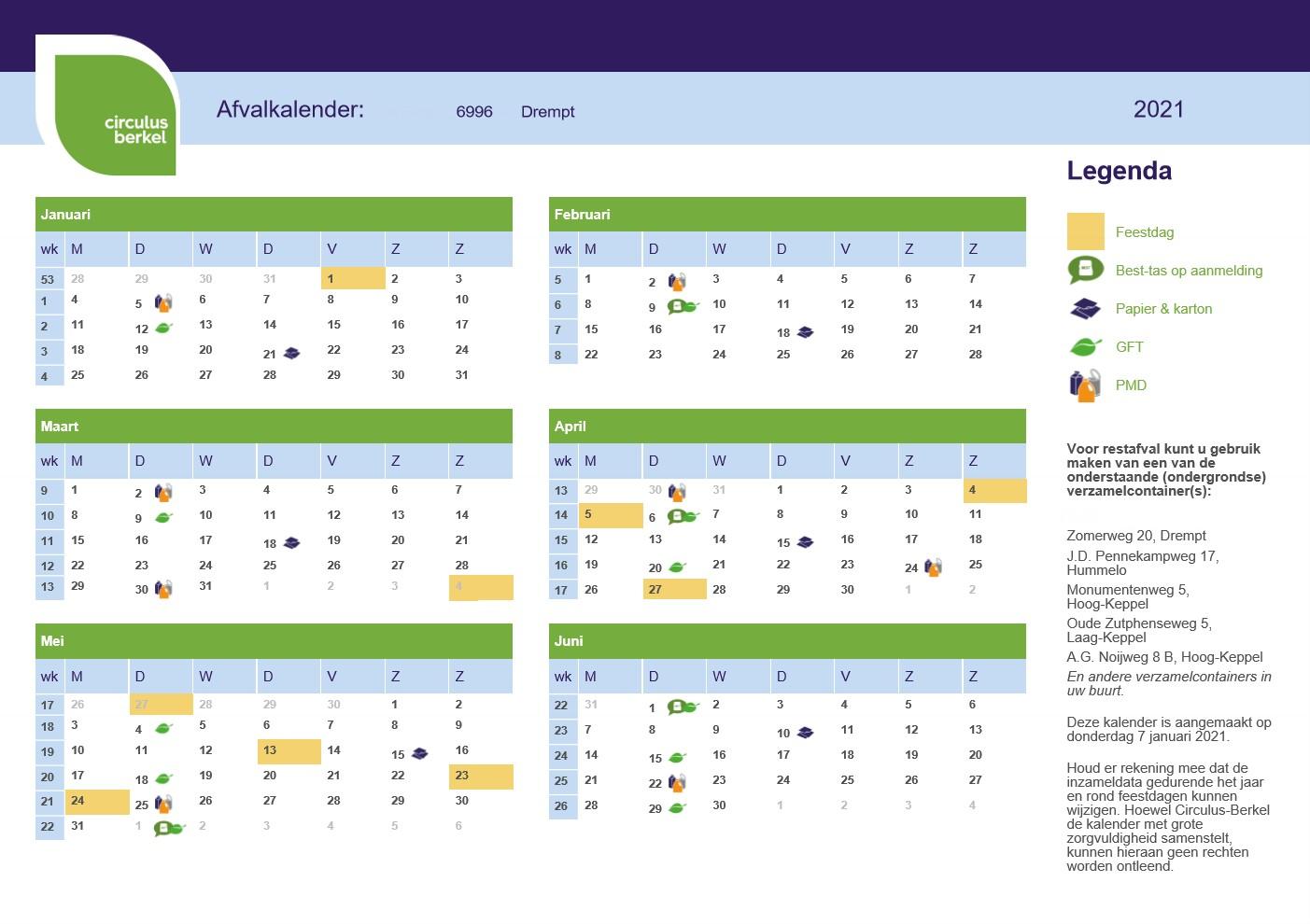 Afvalkalender 6996 Drempt 2021 (januari t/m juni)