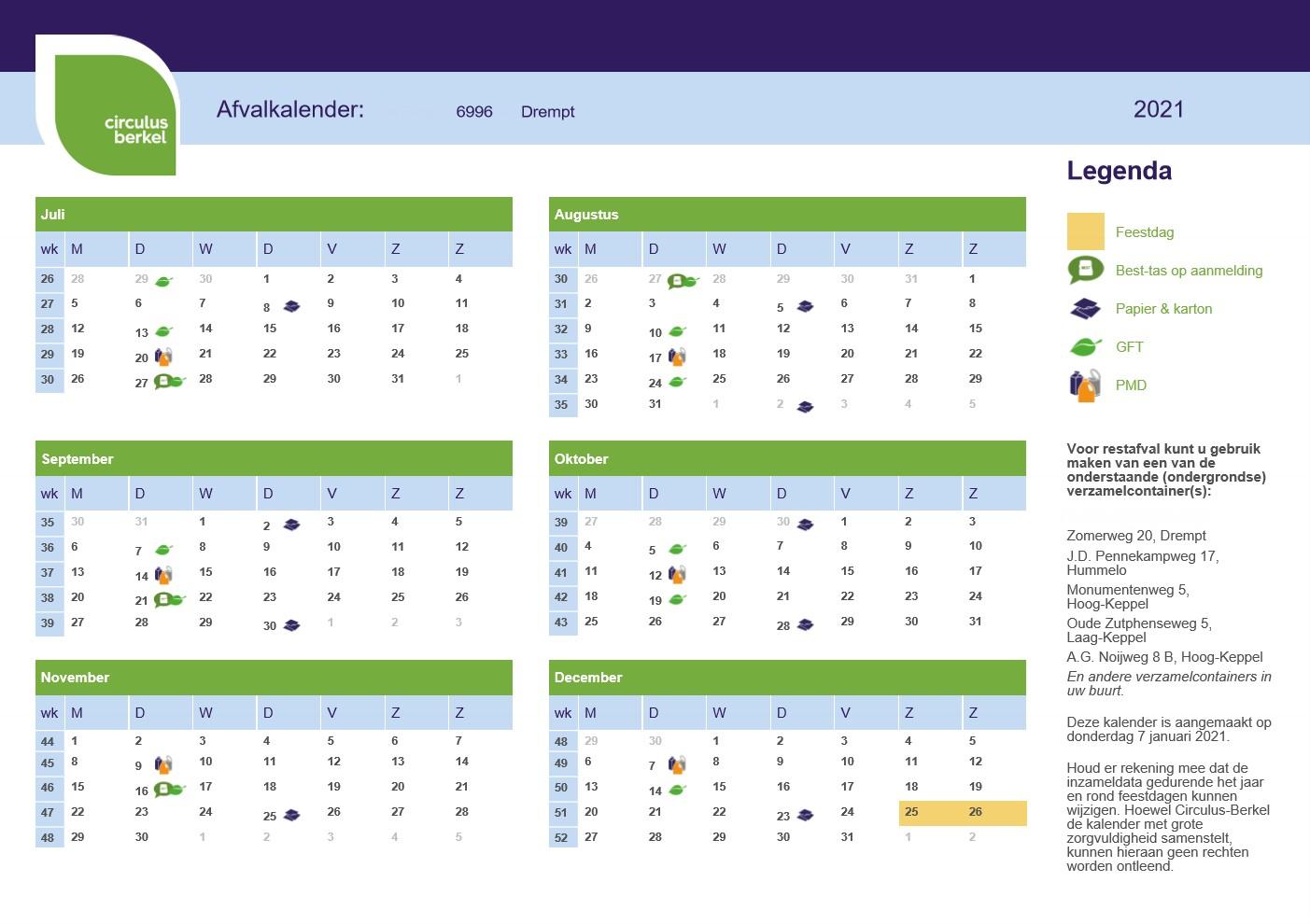 Afvalkalender 6996 Drempt 2021 (juli t/m december)