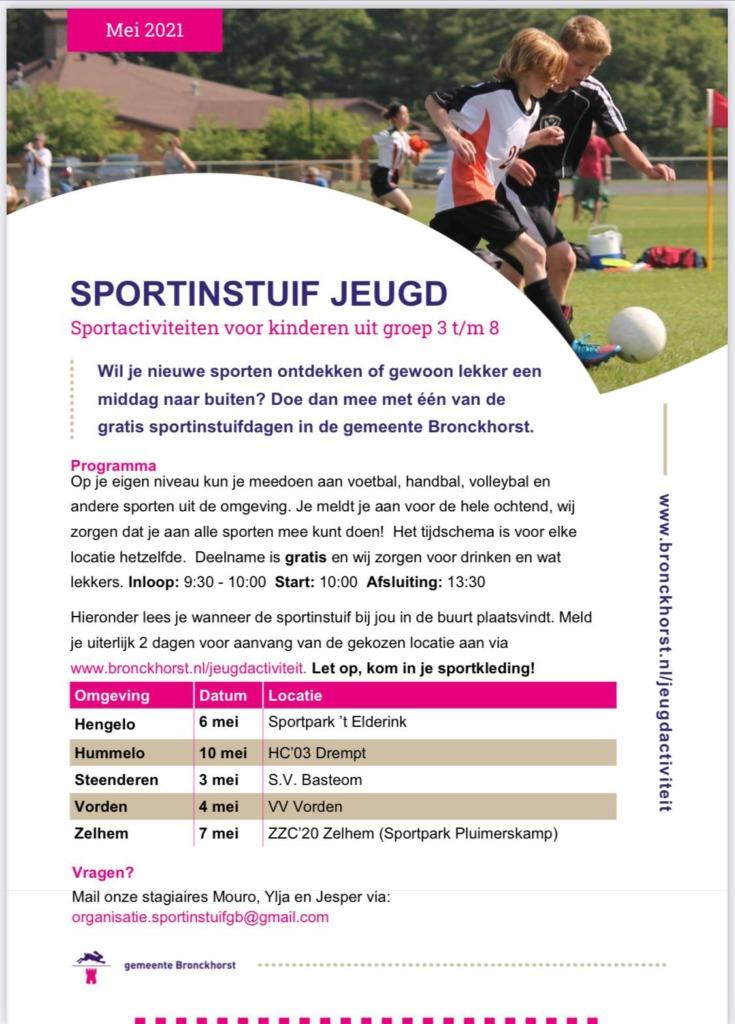 sportinstuif jeugd Bronckhorst mei 2021