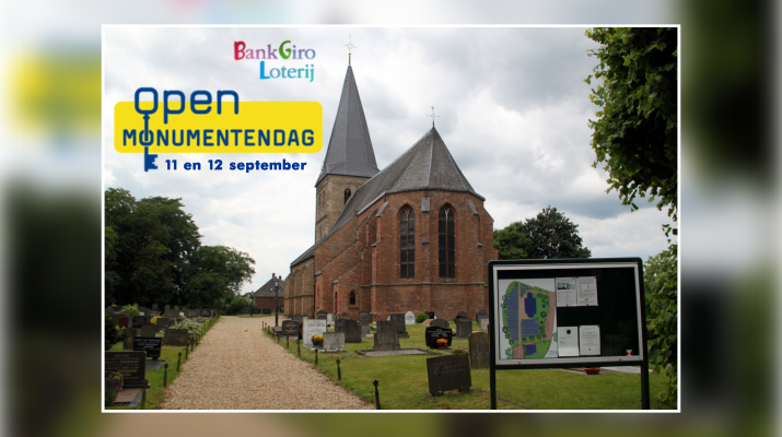 kerk met tekst Open monumentendag