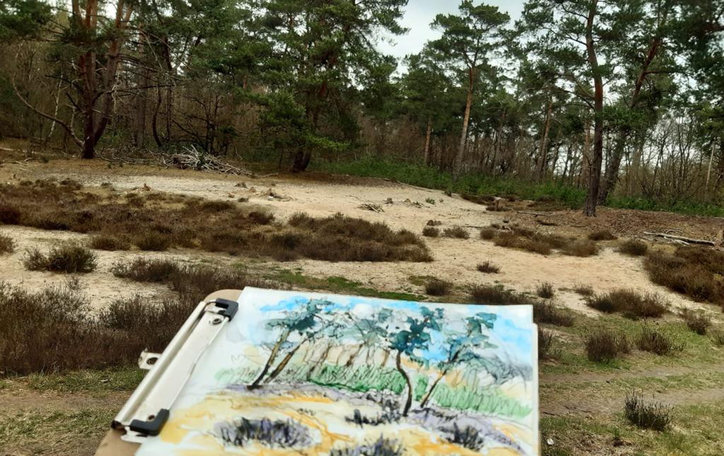 natuurschets klein heidelandschapje Coldenhove door Ingrid Terpstra