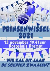 aankondiging Prinsenwissel Carnavalsvereniging De Blauwe Snep Drempt