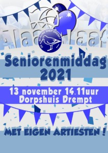 aankondiging Seniorenmiddag Carnavalsvereniging De Blauwe Snep Drempt